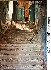 stairway in abandoned home