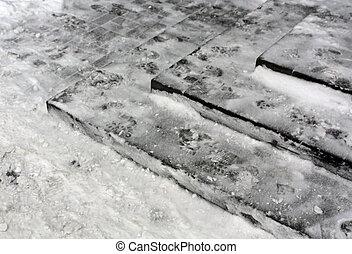 Stairway in snow.