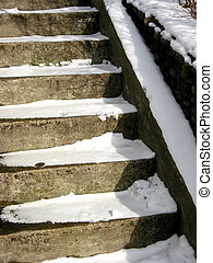 Stairway in winter - Concrete stairway covered with snow