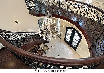 stairway, ledande, foajé, nedåt, böjd