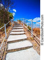 Stairway pathway uphill