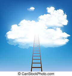 Stairway rises to the clouds. Stock vector.