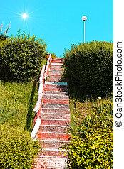 stairway, til, den, sol