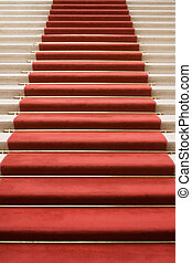 Stairway to Fame - Red carpet on marble stairway welcoming...