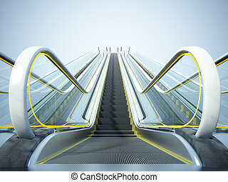 Stairway to Heaven - Close-up of the modern escalator on the...