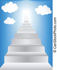 Stairway leading to heaven with clouds in sky