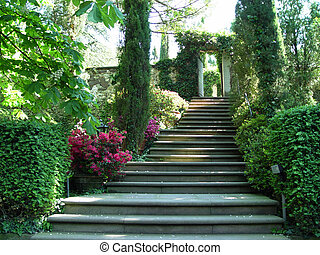stairway to heaven - garden with stairs during spring