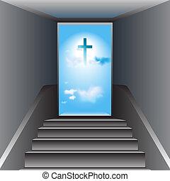 Gray stairway. Open door. Heaven. Blue sky with white clouds. The Cross of Jesus Christ in center.