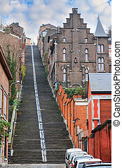 Stairway to Liege - Beautiful cityscape of the 374-step long...