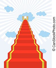 Stairway to paradise. Red carpet into sky. Gates of paradise. Doors in  clouds. Vector illustration of Gods dwelling. Climb to top of heaven.