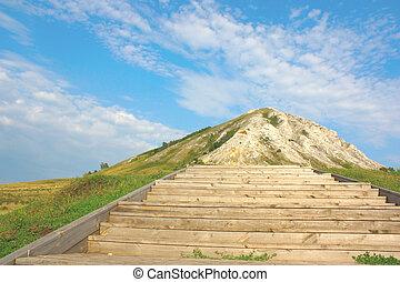 Stairway to peak of the mountain