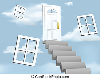 Illustration of stairs leading to a door in the clouds.