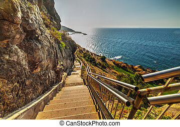 stairway to the sea in Sardinia