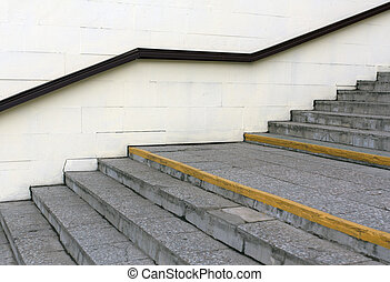 Stairway with handrail.