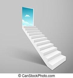 Stairway with open door heaven, ladder staircase to sky concept