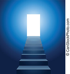 vector conceptual illustration of stairways leading into the light