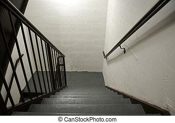 Hotel stairwell, Houston Street, New York, New York