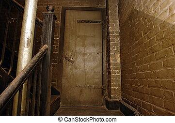 stairwell, viejo, tres, edificio