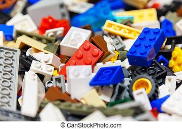 stak, i, farve, plast legetøj, mursten