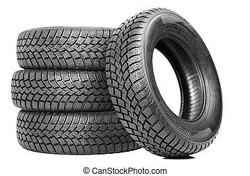 stak, i, fire, vogn hjul, vinter, dæk, isoleret