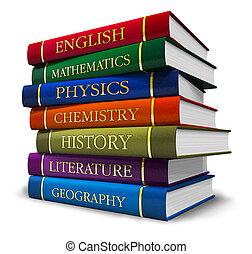 stak, i, textbooks bøger
