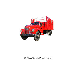 Stake Truck - This is a picture of an old red 1940s flat bed...