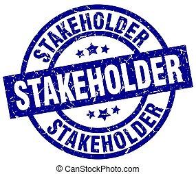 stakeholder blue round grunge stamp