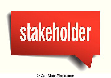 stakeholder red 3d speech bubble - stakeholder red 3d square...