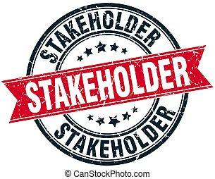 stakeholder round grunge ribbon stamp