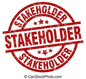 stakeholder round red grunge stamp
