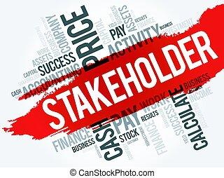 Stakeholder word cloud collage, business concept background
