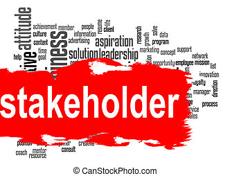 Stakeholder word cloud with red banner - Stakeholder word...