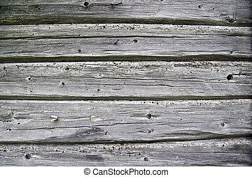 staket, bakgrund, uthärdade ved