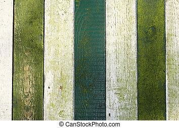 staket, med, gröna och vita, målad, ved