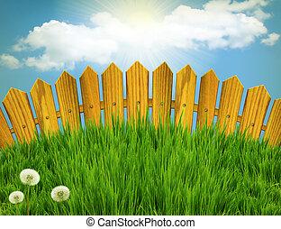 staket, ved, sommar, gräs sol, meadow., landskap, klartecken