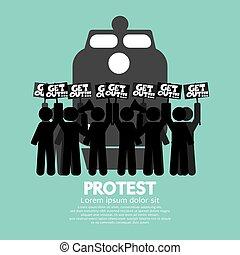 staking, protest., werkmannen , trein