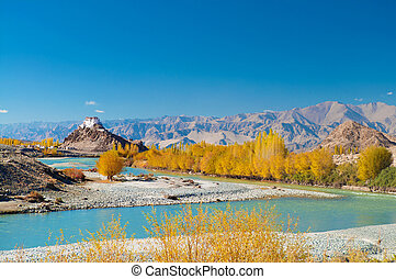stakna, ladakh, monastère, india., leh