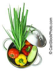 stal, barwny, niesplamiony, warzywa, kucharstwo garnczek