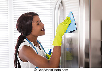stal, kobieta, jej, niesplamiony, czyszczenie, chłodnia