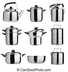 stal, niesplamiony, grupa, naczynia kuchenne, kitchenware.