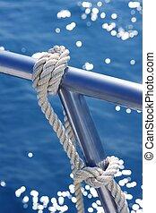 stal, niesplamiony, szczegół, węzeł, reling, marynarka, łódka