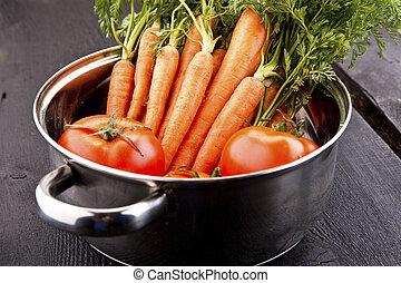 stal, niesplamiony, warzywa, świeży, garnek, tygielek