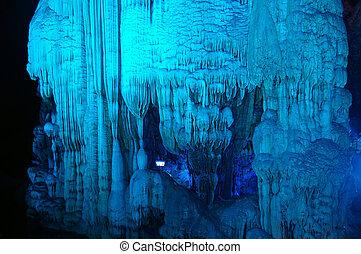 "stalactite, éclairé, guangxi, king"", formations., dragon,..."