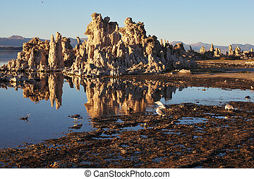 stalactites, tufa, lago, refletido