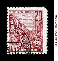 Stalin avenue in Berlin - GERMANY - CIRCA 1955: A stamp...