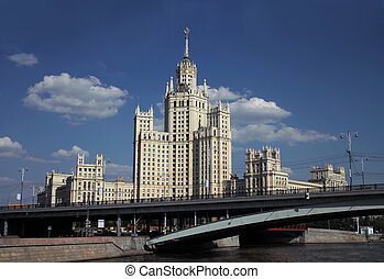 Stalin high-rise building in Moscow, Russia. - Moscow,...