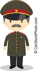 stalin, vektor, character., karikatur, illustration.