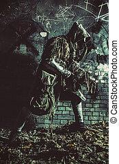 Stalker armed with gun sneaking in dark catacombs