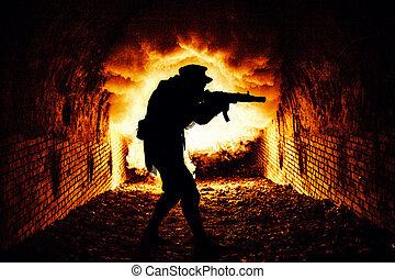 stalker, con, arma de fuego, explorar, catacumbas, con, pelea