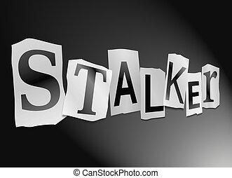 Stalker concept. - Illustration depicting cutout printed...